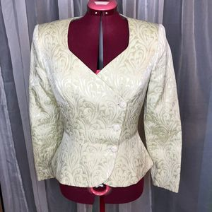 Cache quilted tapestry blazer sz 6